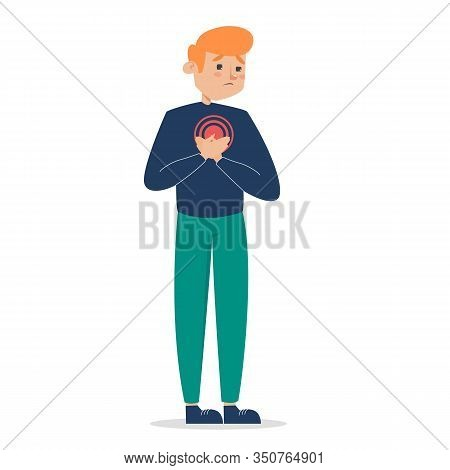 Man Feel Pain In The Chest Vector Isolated. Heart Disease
