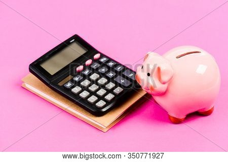 Credit Concept. Calculate Profit. Piggy Bank Pink Pig And Calculator. Finance Manager Job Position.