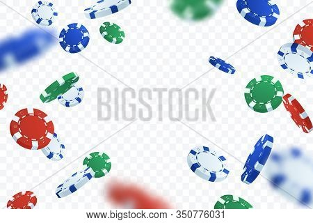 Falling Poker Gambling Chips Isolated On Transparent Background. Flying Casino Chips Vector Illustra