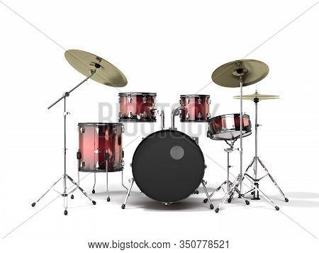 Musical Instrument Drum Set 3d Render On A White Background
