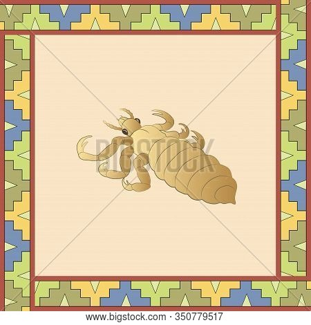 Louse Color Illustration In Mexican Ornament Frame. Vector.