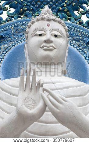White Guan Yin Goddess Statue - Detail Of Exteror Of Wat Rong Suea Ten, Or Blue Temple In Chiang Rai