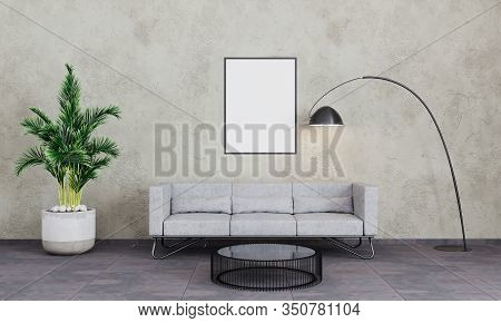 Empty Poster Frame In Loft Living Room. Picture Mockup. Modern Interior Living Room With Grey Concre