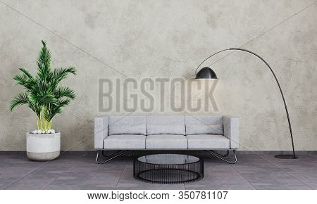 Modern Interior Living Room With Grey Concrete Wall, Sofa, Black Lamp And Palm Tree. Living Room For