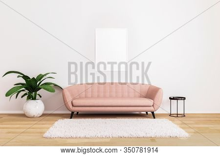 Blank Picture Or Poster Mockup.pink Sofa With Black Coffee Table And Plant In Bright Living Room Wit