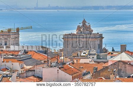 Lisboa, Portugal - April 2018: Aerial View On The City Center