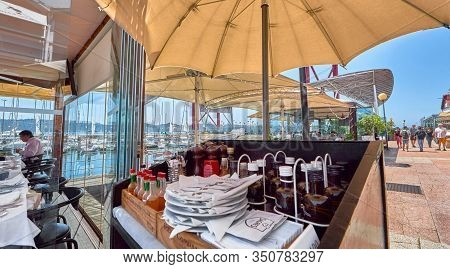 Lisboa, Portugal - April 2018: Cafe At Tagus River At The City Promenade