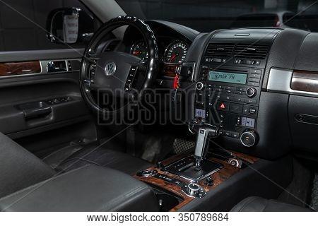 Novosibirsk, Russia - December 06, 2019:  Volkswagen Touareg,  Luxury Car Interior - Steering Wheel,