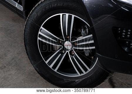 Novosibirsk, Russia - December 06, 2019:  Volkswagen Touareg,  Close-up Car Wheel With Aluminum Allo