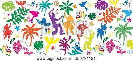 2020 Abstract Rio Brazilian Carnival music dance festival night party seamless pattern. Happy people Samba dancers parade Sambadrome, New Orleans Mardi Gras, Notting Hill London Venezia costume mask firework exotic tropical palm leaves Spanish San Fermin