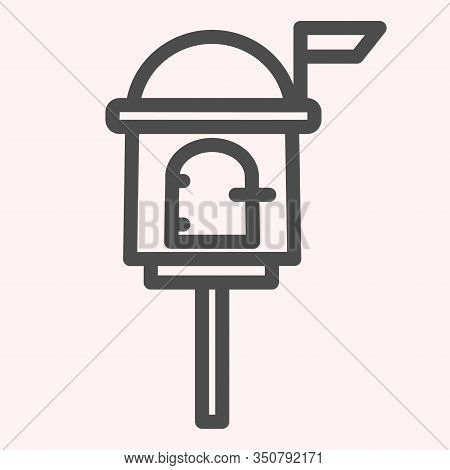 Letterbox Line Icon. Mail Box On Stand With Handle Lock. Postal Service Vector Design Concept, Outli