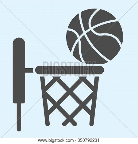Basketball Solid Icon. Streetball And Basket With Ball. Sport Vector Design Concept, Glyph Style Pic