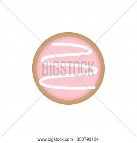 Cute Easter Egg Sugar Cookie Round Vector Illustration. Spring, Holiday, Circle Easter Cookie With I