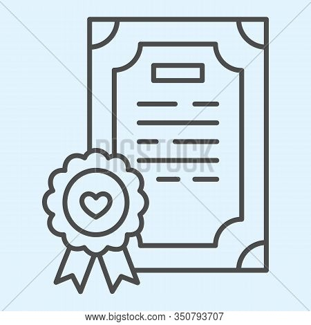 Prenuptial Agreement Thin Line Icon. Certificate, Marriage Contract. Wedding Asset Vector Design Con