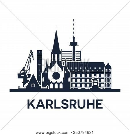 Karlsruhe, Gemany. City Skyline, Dark Solid Color