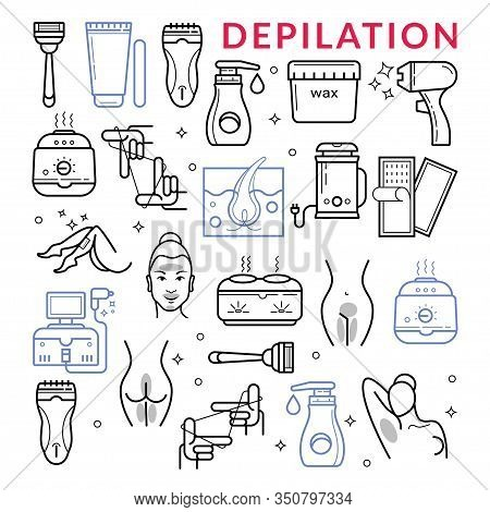 Hair Depilation, Laser Hair Removal. Linear Icons
