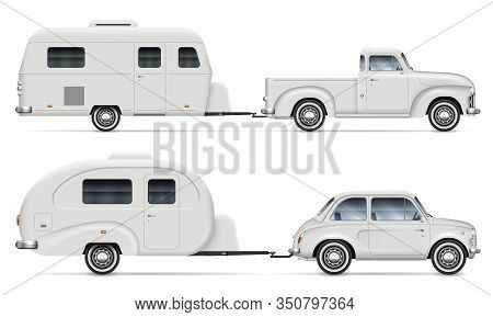 Car Pulling Rv Camping Trailer On White Background. Side View Of Pickup Truck With Recreational Vehi