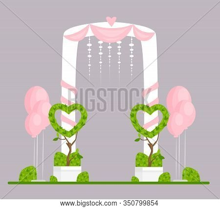 Wedding Arch Flat Vector Illustration. Engagement Ceremony Isolated Design Element. Marriage Event F