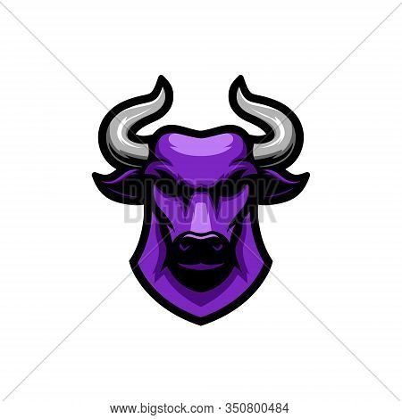 Purple Bulls Head Vector Illustration Logo, Logo For Sports Teams, E Sports, Backgrounds And So On