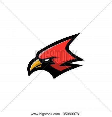 Red Cardinal Bird Logo Head Vector Illustration, Suitable For The Sports Team Mascot Logo And E Spor