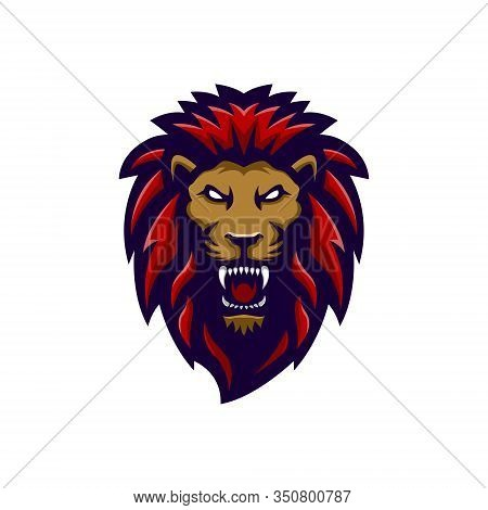 Lion Head Logo Vector Illustration With Red Mane, Being Angry Looking At His Sharp Teeth, Suitable F