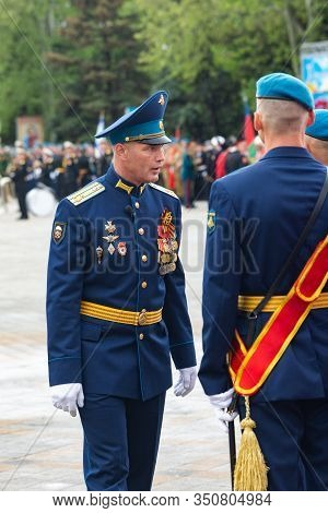 Anapa, Russia - May 9, 2019: The Head Of The Anapa Local Garrison, Commander Of The 1141 Guards Arti