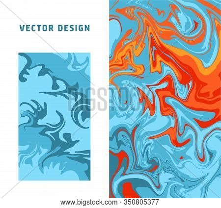 Abstract Colorful Minimal Artistic Neon Vector Backgrounds Set. Turkish Paper Marbling Or Ebru Art T