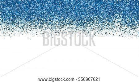 Confetti In Shades Of Classic Blue Border On White Background. Falling Sparkles Dots. Shiny Dust Vec