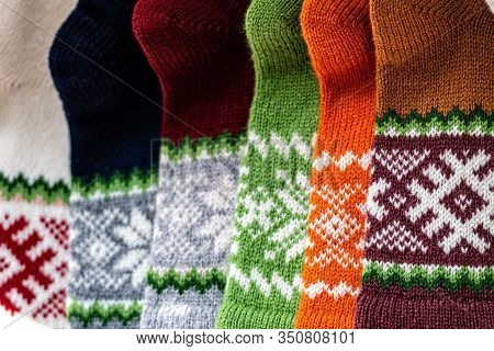 Traditional Latvian Knitted Woolen Mittens And Socks, Precious Artefacts, Variety Of Colors, Differe