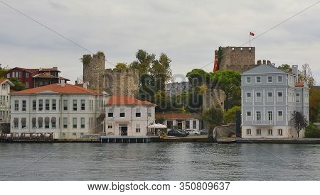 The 14th Century Anatolian Fortress, Anadalou Hisari, Located At The Narowest Point Of The Bosphorus