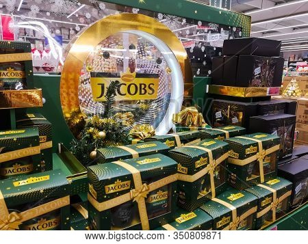 Strong Jacobs Coffee From Germany On A Shelf For Sale In Auchan Shopping Center On December 25, 2019