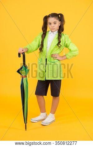 Dry And Comfortable In Rainy Weather. Small Girl In Raincoat With Umbrella. Schoolgirl Waterproof Ra