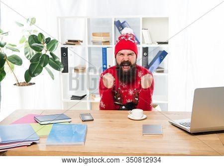 Oh Yes. Bearded Man Celebrate Victory In Office. Happy Businessman Make Winner Gesture. Victory Make