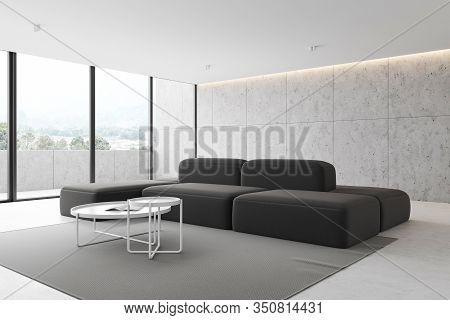 Concrete Living Room Corner With Sofa And Balcony