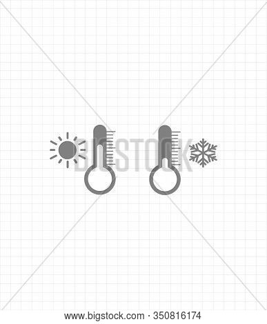 Gray Vector Icon Set Thermometers With Weather - Cold Weather And Warm Weather. Snowflake And Sun Ic