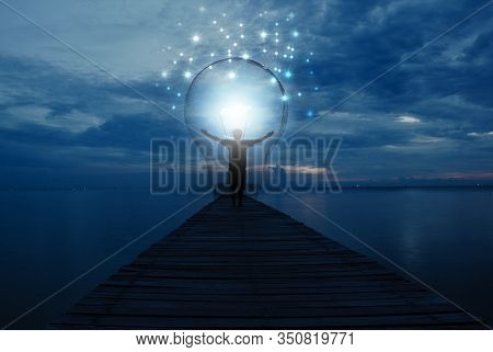 Creative Idea.concept Of Idea And Innovation / Night Sky Background / Soft Focus Picture / Blue Tone