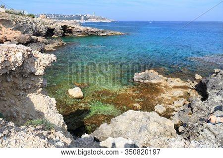 Salento Coast Landscape In Italy. Punta Ristola Near Leuca.
