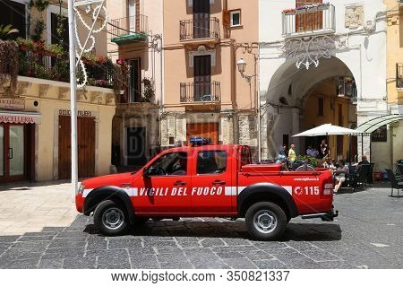 Bari, Italy - May 28, 2017: Firefighters Work In Bari, Italy. There Are About 30,000 Fire Fighters I