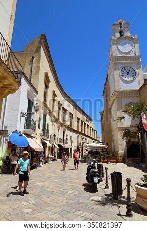 Gallipoli, Italy - May 31, 2017: Street View In Gallipoli, Salento Peninsula, Italy. With 50.7 Milli