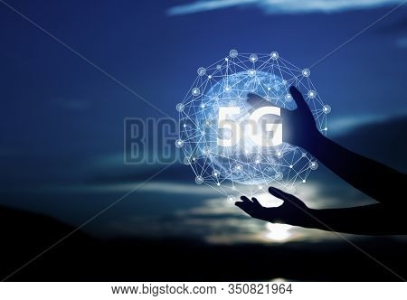 Abstract Science, Circle Global Network Connection In Hands On Night Sky Background.global Network C