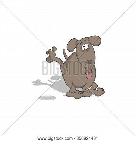 Cartoon Dog Pissing. Vector Illustration With Shadow.