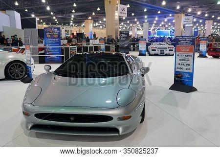 Philadelphia, Pennsylvania, U.s.a - February 9, 2020 -the Silver Jaguar Xj220 Supercar With 532 Hors