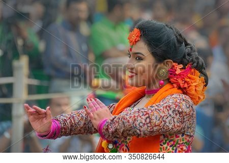 Kolkata, India - 1st March, 2018 : Beautiful Young Bengali Girls With Spring Festive Make Up , Joyfu