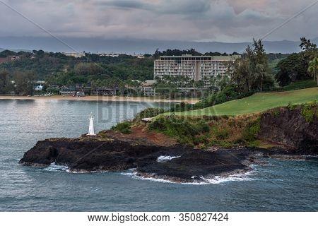 Nawiliwili, Kauai, Hawaii, Usa. - January 11, 2012: Early Morning Light On Kukii Point Lighthouse Or