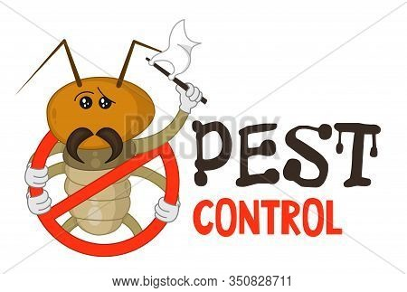 Funny Vector Illustration Of Pest Control Logo For Fumigation Business. Comic Locked Termite Surrend