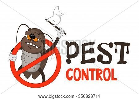 Funny Vector Illustration Of Pest Control Logo For Fumigation Business. Comic Locked Cockroach Surre