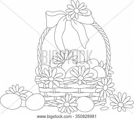 Easter Wicker Basket With A Bow, Flowers And Painted Eggs, Black And White Vector Cartoon Illustrati