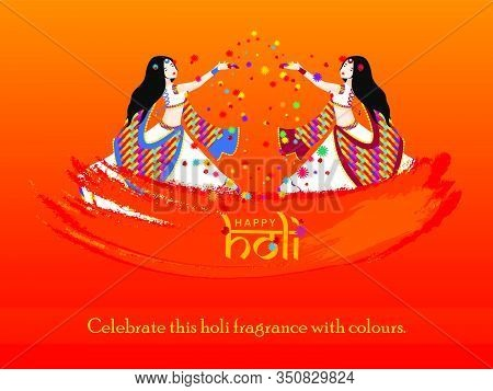 Beautiful Women With White And Colorful Holi Traditional Dressed Celebrating Flower Holi With Rose P