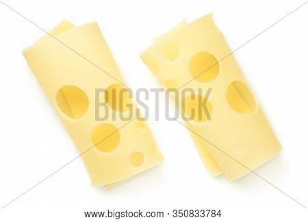 Emmentaler Cheese Slices Isolated On White Background. Top View, Flat Lay