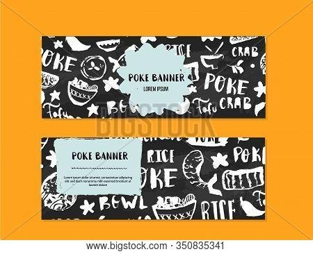 Poke Bowl Restaurant Banner Design. Colorful Grunge Cafe Template, Healthy Hawaiian Nutrition, Fish